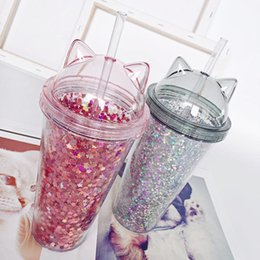 Cat Ear Coffee Cups Plastic Water Bottle With Sequin Flash For Girlfriend Gifts