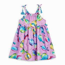 halter casual floral vestido hasta la rodilla Rebajas Linda impreso algodón del bebé de los vestidos de longitud de la rodilla de las niñas de Playa Vestidos halter vestidos casuales de verano 19052101