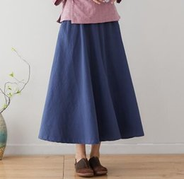 baumwoll-röcke elastische taille lässig Rabatt Neue Art und Weise Sommer Frühling beiläufige Röcke blau schwarz rot A-Linie Baumwolle Leinen Röcke Frauen plus Größe elastische Taille Reich sgy0901