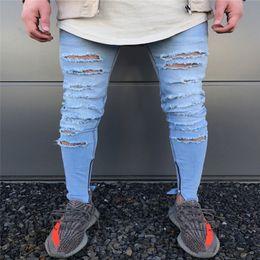 nuevo diseño de moda de marca pantalón Rebajas Diseño de moda Brand New Men Blue Jeans Skinny Ripped Stretch Slim Fashion Hip Hop Hombre Casual Denim Biker Zipper Pants Jogger