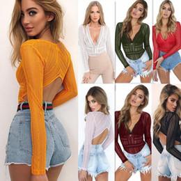 Kadın giyim Seksi Dantel Tulum Üst Şifon Uzun Kollu V Kolye Tops Tulum Kadınlar Bluzlar Moda See Through Bırak Nakliye cheap chiffon clothing wear women nereden şifon giyim kadın giyim tedarikçiler