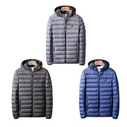2019 черный цвет Зимняя Термальная Coat Электрический обогрев вниз хлопок Костюм USB зарядный Отопление Хлопок Теплые Утолщенные Мужчины куртка Одежда