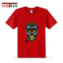 2019 diseño de tuberías camisetas 2019 Último diseño Camiseta de verano Divertido Dobbs camiseta Homme Sugar cráneo mexicano con pipa de tabaco camiseta hombre hombre camisetas diseño de tuberías camisetas baratos