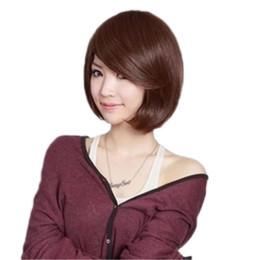 2019 modische dunkelbraune hellbraune natürliche schwarze Farbe mittel kurze Bobo Fransen Haarschnitt Perücken für Frauen den täglichen Gebrauch von Fabrikanten