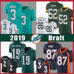 d5edc4c260 Miami 3 Josh Rosen Dolphins Jersey Packers 52 Rashan Gary 26 Darnell Savage  Jr 19 JJ Arcega-Whiteside Eagles Broncos 87 Fant 3 Drew Lock supplier  packers ...