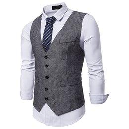 2019 Светло-серый винтажный деревенский свадебный жилет коричневого цвета с эффектом кожи. Зимняя облегающая одежда для жениха Однобортный от