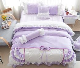 Prinzessin bettwäsche gesetzt voll online-Baumwollbettwäschesatz Princess Style Lace Bow Knot Design Bettbezug Bettlaken Set in voller Größe