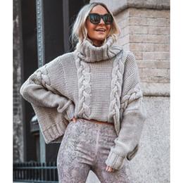 Maglione dei polsini online-Manica lunga autunno del maglione delle donne Slim Pure inverno lavorato a maglia dolcevita casual Cashmere Pullover dolcevita Split polsino di base Top