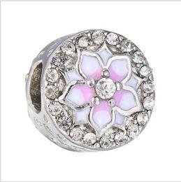 rosa pandora herz baumeln charme Rabatt pandora armband 925 sterling silber magnolie blüte charme blass cerise emaille rosa europäischen perlen fit halskette 792085PCZ