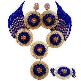 Королевский синий и шампанское золото AB нигерийский комплект ювелирных изделий Африканская свадьба бисер Кристалл ожерелье браслет серьги 10PH09 от
