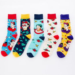 Носки для больших мужчин онлайн-PEONFLY New Printed Woman Big Red Flower Cartoon Pattern happy men Socks Personality Fashion Colorful Cotton Socks Autumn Winter