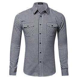 279209189b59 MUQGEW 2019 fashion plaid shirt slim fit Mens Casual Fashion Long Sleeved  Shirt Double Pocket Little Plaid Printing Shirt G4
