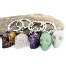 carved amethyst crystal Coupons - 5 Colors Natural Crystal Skull Key Chain Skeleton key ring Figurine Pendant Men Women Jewelry Carving Ornament Pure