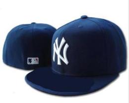 Canada New York classique en gros 2019 hommes chapeau bleu marine équipée chapeau à bord brodé équipe ny logo fans de baseball chapeau de qualité supérieure plein fermé os cheap fitted hats flat brim wholesale Offre