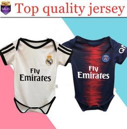 Pantalones cortos de escalada online-18/19 Real Madrid Baby soccer Jersey Manga corta Mono Triángulo Escalada Ropa Loveclily Modric RONALD0 MBAPPE baby jer
