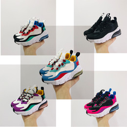 springs girls Coupons - New 270 React Bauhaus TD Kids Shoes Boy Girls Running Shoes Black White Hyper Bright Violet Toddler Children Sneakers 24-35