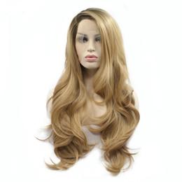 pelucas onduladas largas rubias oscuras Rebajas Dark Roots Peluca Sintética Rubia Ombre Para Mujeres Negras Sin Cola Larga Ondulado Fibra Resistente Al Calor Sintética Cordón Delantero Ombre Pelucas