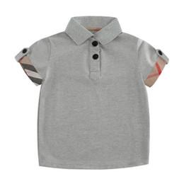 Camisa polo a xadrez on-line-Novo Cinza Do Bebê Meninos T-shirt Confortável Algodão Pólo Camisa Dos Miúdos Roupa Quente Vender Moda Xadrez Verão T-shirt Do Bebê de Manga Curta