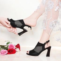 botas rojas sexy para las mujeres Rebajas 2019 Nuevas sandalias de verano para mujer Zapatos de tacón alto Redes Especias Especias Bold Sexy Cool Boots Roman Zapatos de gran tamaño para mujer