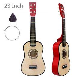 23 pollici in legno di acacia per chitarra acustica colore legno 6 corde strumento musicale con plettro per chitarra e stringa per bambini regali da