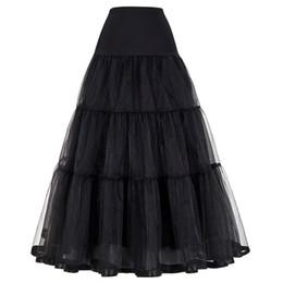 2019 vestidos de nylon de la vendimia Mujeres Negro Rojo Retro Falda Para La Boda Moda Vintage Faldas Largas Underskirt Crinoline Vestido de Bola Imperio Voile Tul Enagua Eny190428 rebajas vestidos de nylon de la vendimia