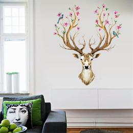 Calcomanía de cabeza de venado online-DIY Sika Deer Head Flowers Adhesivos de pared para sala de estar Art Vinyl Wall Decals para niños Baby Home Decor Adesivo De Parede