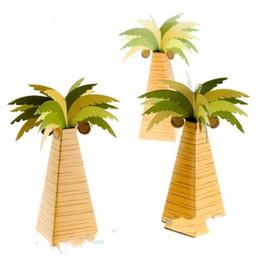 Decorazioni di cocco online-Coconut Tree Candy Box Matrimonio Compleanno Decorazione del partito Scatole di imballaggio Papery Brown Verde Gift regalo creativo 0 5blD1