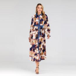 Argentina Nueva mujer modesta estampado floral camisa maxi vestido XL-6XL más el tamaño del vestido de kaftan musulmán de solapa del tamaño cheap 6xl maxi women dresses Suministro
