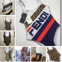 Biquíni de uma peça on-line-Marca biquíni swimwear para mulheres hot 8 designs f carta maiô beachwear verão one piece sexy lady swimsuit transporte da gota