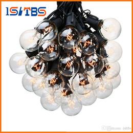 fil étoile rouge Promotion 25ft G40 Ampoule Globe Guirlandes avec ampoule claire Cour arrière Patio Eclairage Vintage Ampoules décoratifs d'extérieur Garland mariage