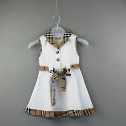 Deutschland 2019 Kinder Mädchen ärmellose Kleider Kinder Kleid Spitze Gürtel Plaid Farbe Baby Rock passende süße Persönlichkeit stilvoll Versorgung