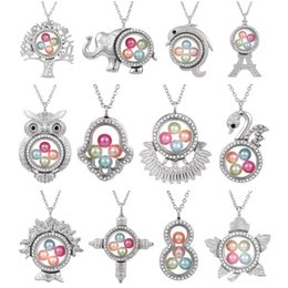 steel floats Promo Codes - Silver Elephant Cross Owl Living Memory 8mm Pearl Beads Magnetic Glass Floating Locket Pendant Necklace Pearl Cage Locket Charms