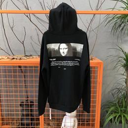 Мужская дизайнерская белая толстовка онлайн-Новый Mona Lisa Hoodie Hip Hop Street Sport Мужские дизайнерские толстовки Черный Белый Свободный пуловер Толстовка