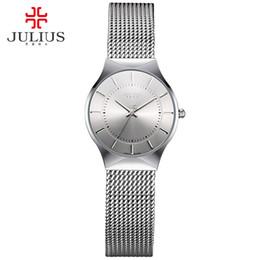 gli orologi di luglio Sconti JULIUS JA-577 donne ultra sottile argento nero uomini maglia acciaio inossidabile analogico al quarzo moda casual orologio da polso femminile orologio c19010301