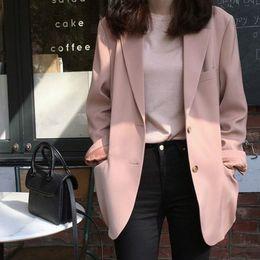 modelli giacche da donna Sconti Giacca da donna 2019 autunno modelli femminili coreano moda casual allentato monopetto temperamento piccolo vestito da donna rosa