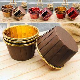 Muffin decoração molde on-line-Brown Gold Cupcake Forros copos de Papel copos casos muffin bolo molde da festa de aniversário decoração do queque suprimentos de casamento WX9-1379