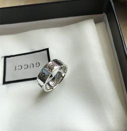 Kühle silberne ringe für männer online-Markendesign Echt 925 Sterling Silber Vintage Ringe für Frauen Männer Liebhaber Punk Mode Coole Schmuck Schädel gg Ring Bijoux Geschenke
