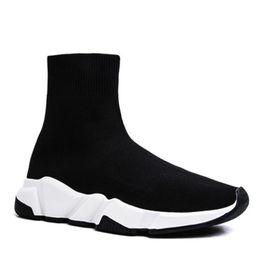 резиновая балерина Скидка Paris Triple S Повседневная обувь Модный бренд Дизайнерские носки Обувь Speed Trainer Черные красные тройные черные носки кроссовки