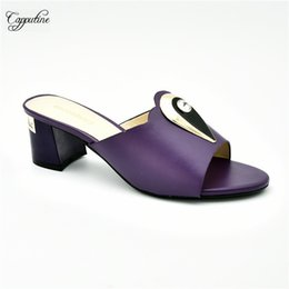 2019 каблук фиолетовый сандалии Graceful purple slip-on shoes latest sandals forparty 2732-6 ,heel height 6cm, size 38-42 дешево каблук фиолетовый сандалии