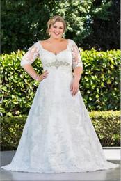 2019 robe à thé audrey Robes de mariée vente chaude dentelle dos 1-2 manches de dentelle sexy V cou écharpe vente chaude belle robe de mariée décoration jupe robes de mariée
