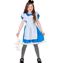 Алиса чудес платье для косплея онлайн-Алиса в стране чудес Новорожденных девочек Алиса платье принцессы лето хлопок Дети Алиса в стране чудес Хэллоуин косплей костюм