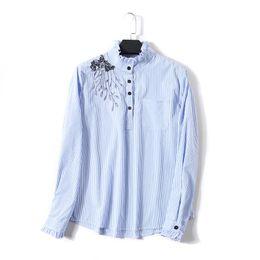 Camicetta con colletto e più taglia online-Camicie di cotone ricamato delle donne del ricamo floreale delle donne 2019 NUOVE signore casuali delle camice allentate superiori eccessive femminili più la dimensione