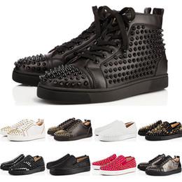 Christian Louboutin CL Nouveau Chaussures cloutées à crampons Chaussures Bas rouges Chaussures habillées pour hommes Partie Lovers Baskets en cuir véritable taille 36-46 ? partir de fabricateur