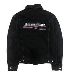 Jeans chaqueta on-line-Luxo homens da forma Brand Jeans Casacos Designer Brasão Outwear Jeans Chaqueta Casual Carta Streetwear High-end Hiphop alta qualidade B101036L