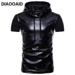 estilo de camiseta de cuero de los hombres Rebajas DIAOOAID 2018 New Classic Black Hoodie T Shirt Hombres Costura transpirable Cuero Hombre Camisetas Manga corta Street Style Tee