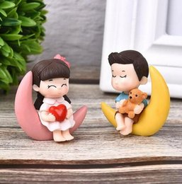 2 pezzi / set Nuovo arrivo Luna Coppia PVC Figurine romantiche Artigianato Ornamenti decorativi per la decorazione della tavola di casa bonsai da