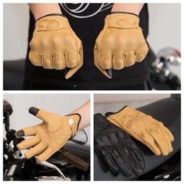 Перчаточный кожаный сенсорный экран онлайн-Рок мотоциклетные перчатки Ретро сенсорный экран Кожаные мотоциклетные перчатки для стиля Guantes Moto сенсорный экран езда перчатки KKA6729