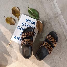 2019 roman belts Pantoufles pour femme 2019 Nouveau Leopard Double Ceinture Sandales sauvages Pantoufles Pantoufles romaines à semelles épaisses, sandales et 36-40 promotion roman belts