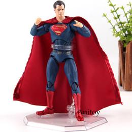 Dc comics acciones figuras online-DC Comics Justice League Superman MAFEX 057 PVC Hot Toys MEDICOM TOY Super Man Actions Figura Colección Modelo Juguete 16cm