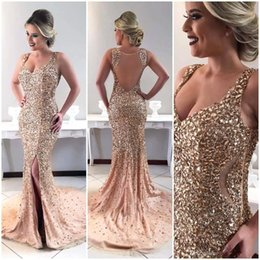 abiti da sposa personalizzati per le donne Sconti 2019 lusso bling oro maggiore che borda strass abiti da sera sirena split lungo abiti da ballo donne occasione spettacolo pageant su misura